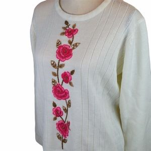 VINTAGE Sweet Crew Neck Knit Sweater, Roses